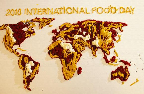 International Food Day 2010 poster made of ketchup, mustard, mayonnaise and some duck sauce over by China.