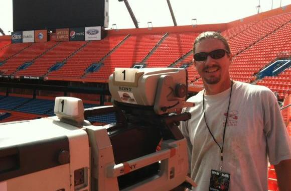 Setting up for a soccer game at Sun Life Stadium in Miami